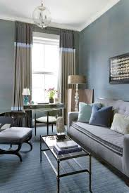 Pale Blue Living Room Living Room White Bookcases Black Console Table Gray Sofa Brown