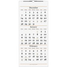 At A Glance 3 Month Calendar Wall Calendars At A Glance 3 Month Vertical Wall Calendar