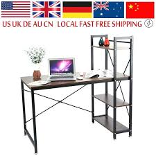 steel computer desk functional home bookcase shelf stainless table 4 tiers shelves metal pipe