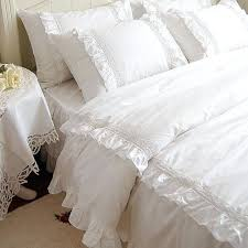 romantic white double ruffle lace bedding sets duvet cover setprincess solid color pink vintage lace duvet cover white lace duvet cover double white lace