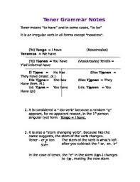 Spanish Tener Chart Tener Worksheet Worksheet Fun And Printable