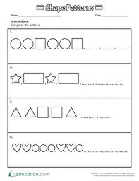 Shape Patterns Classy Shape Patterns Worksheet Education