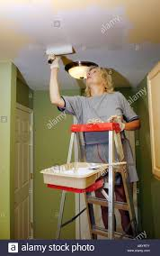 Female Room Painting Design Adult Female Paints The Ceiling Of A Room With Paint And