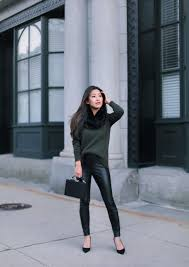 how to style faux leather leggings pants