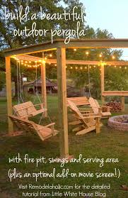 build an outdoor pergola around a firepit including swings a serving area and