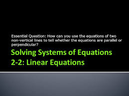 solving systems of equations 2 2 linear equations