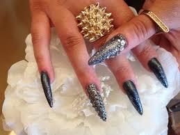 Stiletto Nails With Gun Metal Glitter And Swarovski Crystals ...