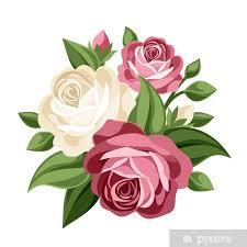 Poster Rosa e rose bianche d'epoca. Illustrazione di vettore. • Pixers® -  Viviamo per il cambiamento