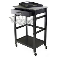 White Kitchen Cart With Granite Top Winsome Julia Kitchen Cart With Granite Top Reviews Wayfair