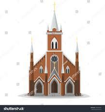 Front Church Design Catholic Church Facade Europe Architecture Modern Stock