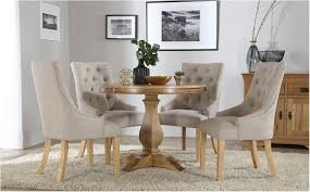 sensational cavendish round oak dining table and 4 fabric chairs set duke antique look round oak