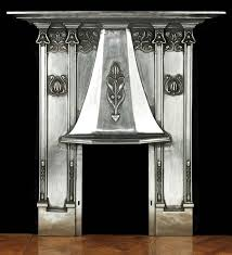 antique silver art nouveau cast iron fireplace mantel