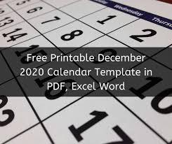 Free Printable December 2020 Calendar Template Pdf Excel Word
