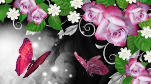 HD Pink Roses Butterfly Shine Wallpaper ...