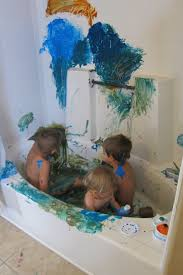 the beauty of finger painting in the bathtub is the mess is completely contained and the kids are ready to wash up in the tub as soon as they are done