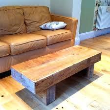chunky oak railway sleeper coffee table reclaimed full size