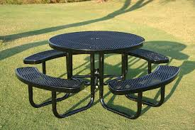 rhino round picnic table thermoplastic metal
