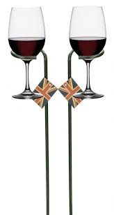 details about e2e set of 2 foldable black metal wine glass holder garden stake spike