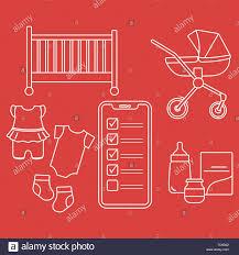 Baby Supplies Checklist Vector Illustration With Smartphone With Checklist Newborn