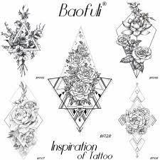геометрические треугольные татуировки временные розы татуировки
