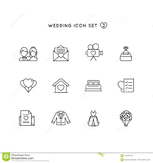 Wedding Outline Icon Set Object Of Marriage Illustration With Love