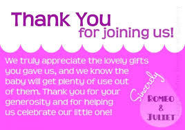 thank you cards baby shower wording simple pink what to write in for original sentence sle