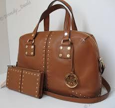 michael kors astor large leather satchel tote handbag bag continental