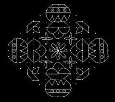 Mattu pongal kolam done in freehand style with supper colour combination. 17 3 Parallel Dots Neer Pulli Kolam Put 17 Dots In The Center 3 Lines Leave One Rangoli Border Designs Free Hand Rangoli Design Rangoli Kolam Designs