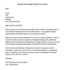 Thank You Letter End Of Internship Samples Granitestateartsmarket Com