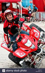 Madrid, Spain - April 06, 2018: Emilio Zamora stunt show at Vive la Moto  motorcycle fair in Madrid, Spain Stock Photo - Alamy