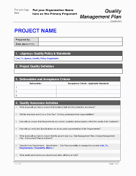Quality Management Plan Project Quality Management Plan Quality Plan Template Fieldstation 11