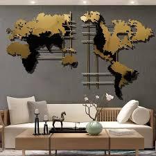 modern 3d metal world map home wall