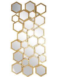 denelm gold hexagon wall mirror