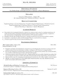 Industrial Engineer Resume New Section Resume Examples Internship