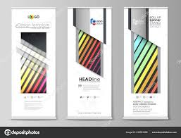 Flyers Flag Roll Up Banner Stands Geometric Style Templates Corporate