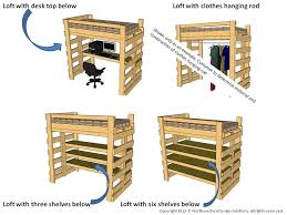 single twin loft bed bunk bed plans for college dorm or children