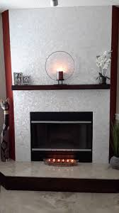 sensational white tile fireplace on stunning white square groutless pearl shell tile fireplace surround