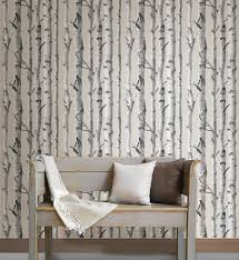 birch tree l and stick wallpaper