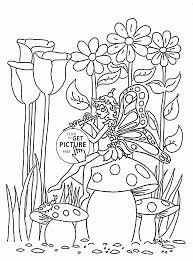 Girl Butterfly And Spring Music Coloring Page For Kids Seasons