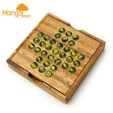 Wooden Solitaire Game With Marbles Wooden Board game Solitaire Game with Glass Marbles MANGO TREES 21