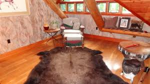 animal skin rug in log home