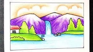 Cách vẽ tranh ĐỀ TÀI PHONG CẢNH THÁC NƯỚC từng bước đơn giản mà ĐẸP | how to  draw scenery waterfall - giasubachkhoa.net