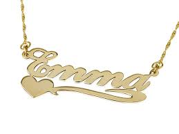 from our prestige collection review this solid yellow gold name necklace with heart