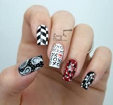 Mix & Match Red, Black & White Nail Art Design - Lucy's Stash