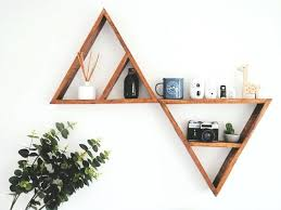 triangle shelves wood diy wooden shelf in shape rustic or style great for the living room