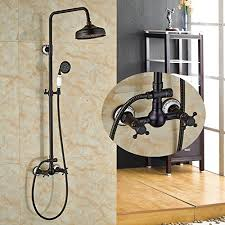zovajonia wall mounted 8 inch rainfall shower faucet set oil rubbed bronze dual handles bathroom tub shower mixer tap with handheld sprayer