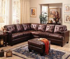 Leather Furniture For Living Room Furniture Contemporary Brown L Shape Tufted Laminated Leather