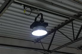 150 watt high power led high bay light fixture shown on installed on warehouse ceiling