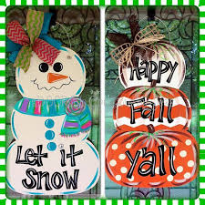 reversible snowman pumpkin stack door hanger by doorcreationsbyjess on
