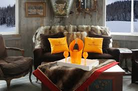 sipping champagne at the veuve clic apres ski lounge at montage deer valley